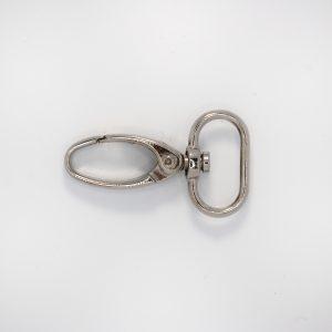 Карабин овал, цвет - серебро, длина 3см, ушко 2.5см