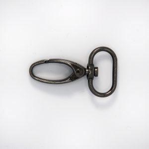 Карабин овал, цвет - черный никель, длина 3см, ушко 2.5см
